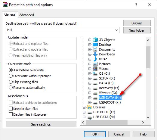 Tích hợp bộ cài windows vào usb - giải nén gói bằng winrar 1