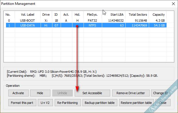Ẩn phân vùng USB-BOOT