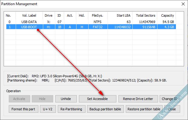 Hiện phân vùng ẩn bằng bootice để sửa menu boot cài win bằng anhdv boot 2