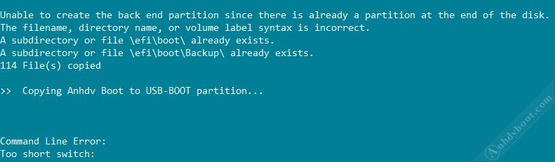Lỗi tạo usb boot với one click anhdv boot