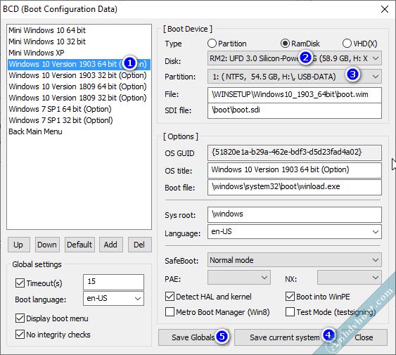 Sửa menu boot BCD cài win bằng anhdv boot 2