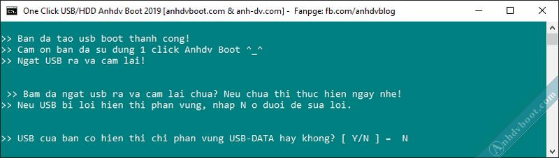 Tạo usb boot với 1 click Anhdv Boot - hoàn tất