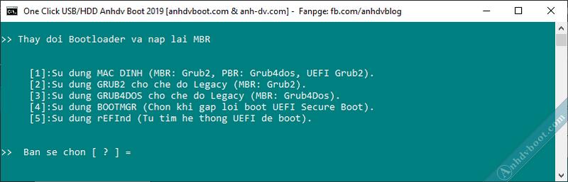 Tạo usb boot với 1 click Anhdv Boot - thay đổi bootloader