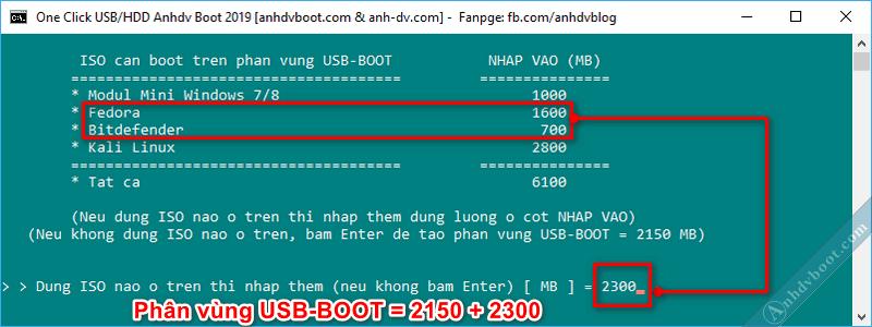 Tạo usb boot với 1 click Anhdv Boot - chọn thêm dung lượng