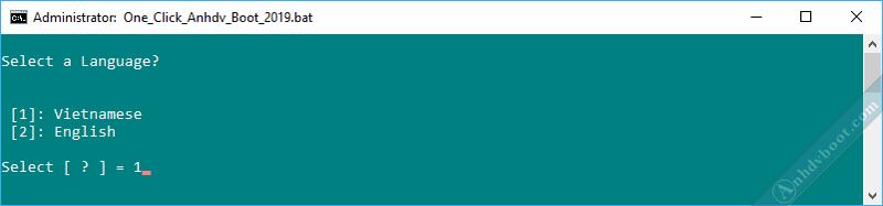 Tạo usb boot với 1 click Anhdv Boot - chọn ngôn ngữ