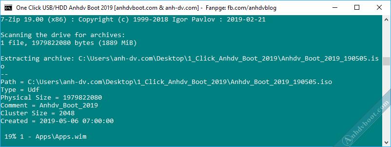 Tạo usb boot với 1 click Anhdv Boot - đợi tạo boot xong