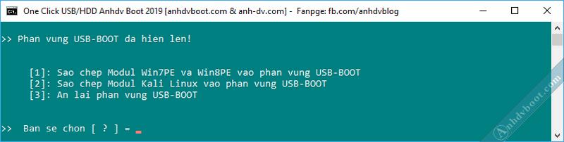 Tạo usb boot với 1 click Anhdv Boot - tùy chọn hiện phân vùng ẩn.