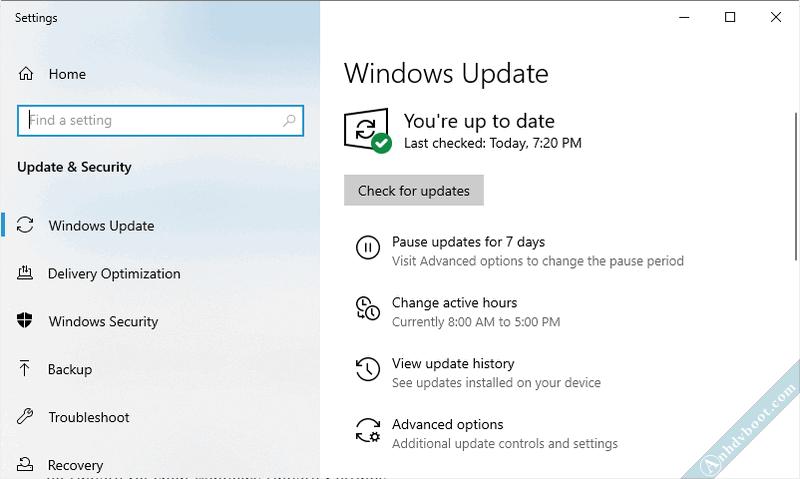 Cách trì hoãn Windows update