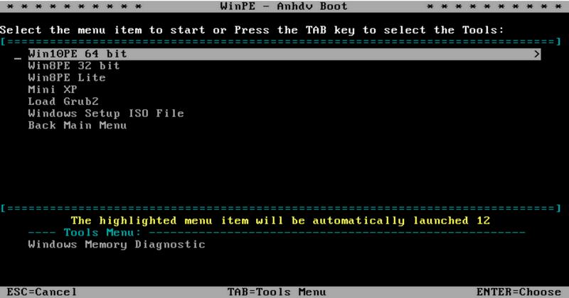 Win10PE, Win8PE, Win8PE Lite, Mini XP ở giao diện WinPE Anhdv Boot 2020