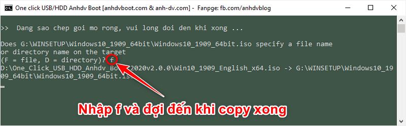 tích hợp file ISO bộ cài Win vào USB - nhập f để copy
