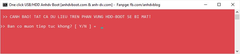 Xóa phân vùng HDD Boot cũ của Anhdv Boot trước đó