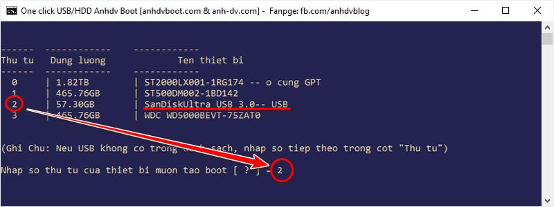 Chọn USB để tạo usb boot phân vùng ẩn với 1 click Anhdv Boot 2020