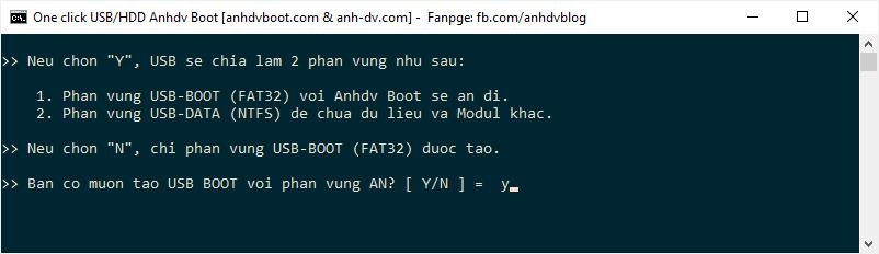 Lựa chọn tạo usb boot khi dùng 1 click Anhdv Boot 2020
