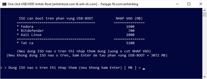 Thêm dung lượng khi tạo usb boot phân vùng ẩn với 1 Click Anhdv Boot 2020