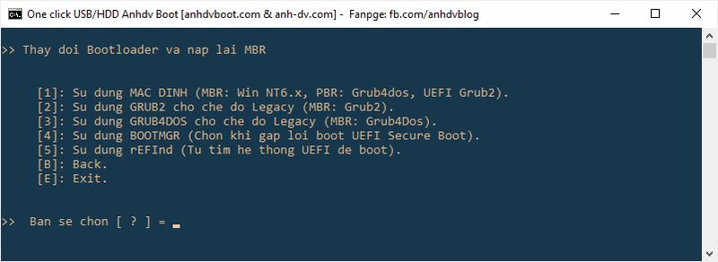 Cách thay đổi Bootloader cho USB/HDD Boot Anhdv Boot 2020