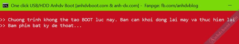 Lỗi khi tạo hdd boot với 1 click Anhdv Boot