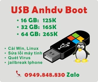 USB tích hợp sẵn Anhdv Boot, bộ cài windows và phần mềm cần thiết