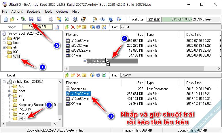 Tùy chỉnh Anhdv Boot thêm Win10 PE 32